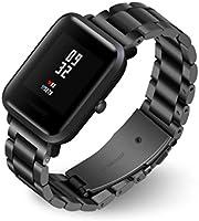Amlaiworld_ Correas Correas para xiaomi huami amazfit bip Youth Reloj de Pulsera de Acero Inoxidable para Xiaomi Amazfit Bip Youth Watch Reloj (Negro, ...