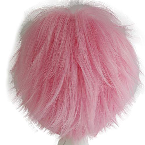 Alacos Women Men Short Fluffy Straight Hair Wigs Anime Cosplay Party Dress Costume Wig Baby Pink Wig+ Free Wig Cap -