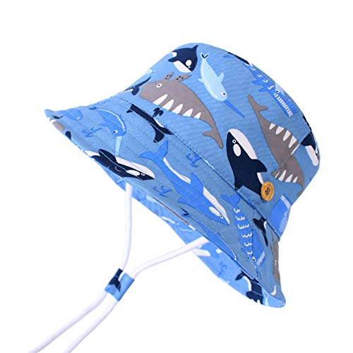 LANGZHEN Sun Protection Hat for Kids Toddler Boys Girls Wide Brim Summer Play Hat Cotton Baby Bucket Hat with Chin Strap (Fish School, XL: 4T-8T (54cm /21.3
