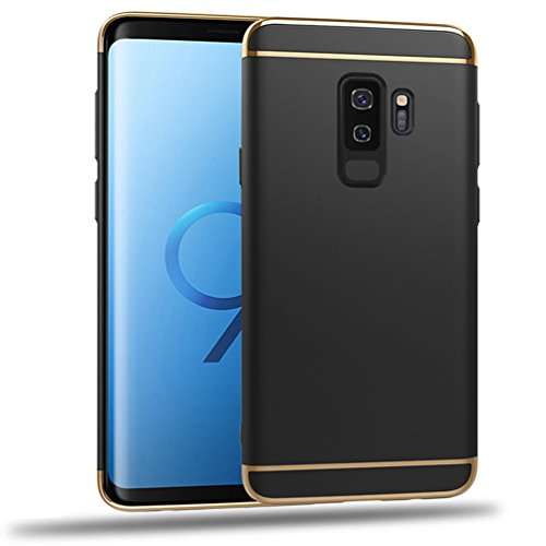 Samhe Samsung Galaxy S9 Plus Case 3 in 1 Shockproof Ultra Thin Electroplated Frame Hard Cover Case for Galaxy S9 Plus (Black)