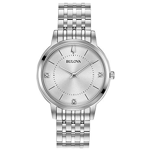 Bulova Women's Diamonds Quartz Watch with Stainless-Steel Strap, Silver, 14 (Model: 96P183) ()