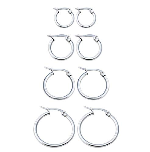 Calors Vitton 4 Pairs Gold Plated Stainless Steel Huggie Hoop Earrings for Women 15mm-30mm Silver