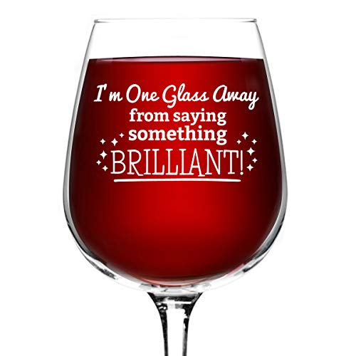 Something Brilliant Funny Wine Glass Gifts for Women- Premium Birthday Gift for Her, Mom, Best Friend- Unique Present Idea