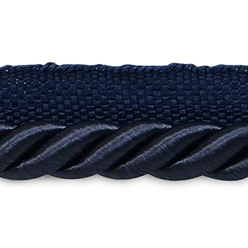 Trim 3/8 Cord Twisted Lip (Hilda 3/8in Twisted Lip Cord Trim Navy Blue (Precut 20 Yard))