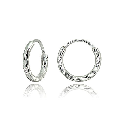 Sterling Silver Diamond-Cut Tiny Small 10mm Round Lightweight Unisex Endless Hoop Earrings