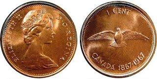 CANADA * 1967 * QUEEN ELIZABETH II *SUPER GRADE 1 CENT *