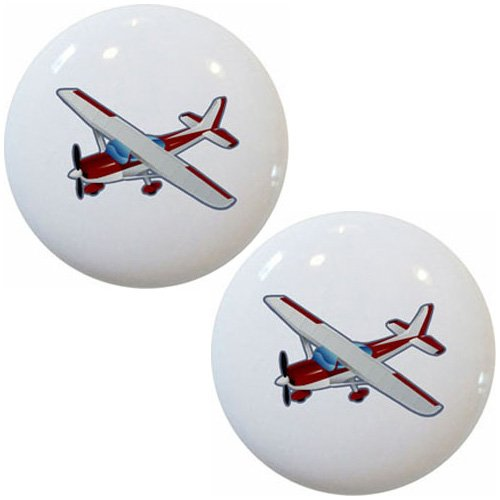 (Red Airplane Aviation Ceramic Cabinet Drawer Pulls Knobs (Set of 2 Knobs))
