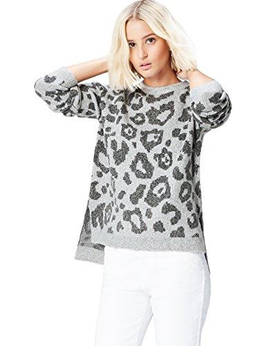 FIND Damen Jaquard-Pullover mit Leopardenmuster