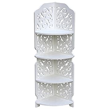 white carved 4 tier waterproof wooden bathroom storage shelving units