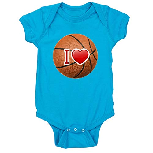(Royal Lion Infant Bodysuit Dark I Love Basketball - Turquoise, 18 to 24 Months)