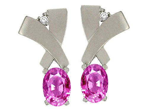 6x4mm Oval Pink Sapphire Earring - 2