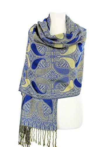 (Paskmlna Paisley Pattern Tow Layered Woven Pashmina Shawl Scarf Wrap Stole (A18-025))
