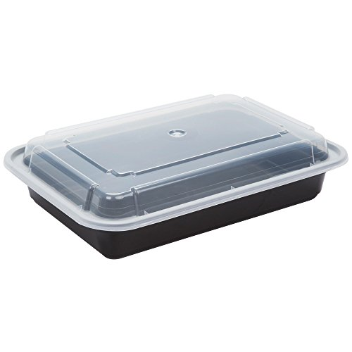 Reusable Microwaveable Food Storage Containers - Pack of 10 Stackable Bento Lunch Boxes with Lids, Freezer and Dishwasher Safe - 1 Compartment, 28oz - Black -By Homeryware