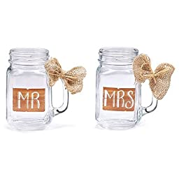MR & MRS MASON GLASS JAR SET W/ BURLAP BOW