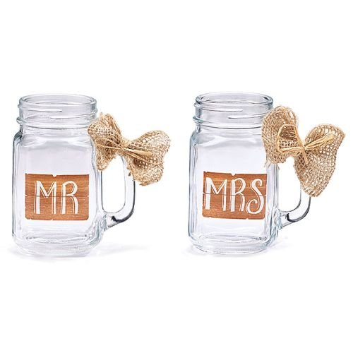 MR & MRS MASON GLASS JAR SET W/ BURLAP (Wedding Mason Jars)