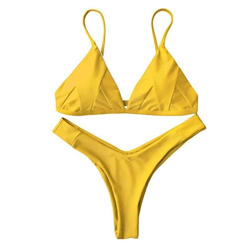 - IMIDO Womens Sexy Thong String Soft Padded Bikini Set Two Piece Swimsuits Swimwear String Bathing Suit (L, Yellow)