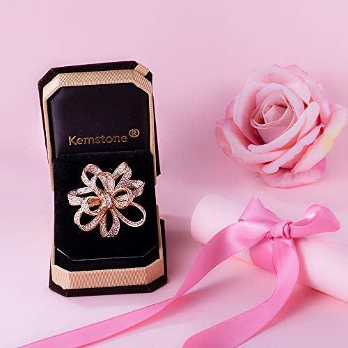 [スポンサー プロダクト][Kemstone] ピンクゴールド ジルコニア フラワー 花 カラフル クリスタル ブローチ アクセサリー レディース ジュエリー