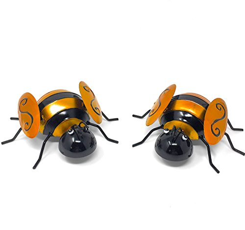 Metal Iron Wall Art Decor Nature Inspired Sculptures For Indoor Outdoor Set of 2 (Bumblebee) (Wall Decor Ideas Patio Outdoor)