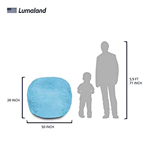 Lumaland Luxury 4-Foot Bean Bag Chair with Microsuede Cover Light Blue, Machine Washable Big Size Sofa and Giant Lounger Furniture for Kids, Teens and Adults