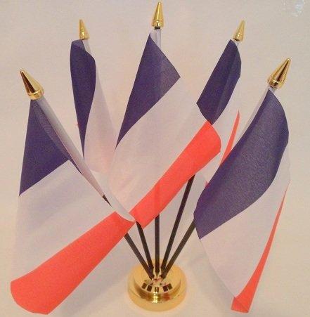 France Fran/çais Drapeau 5/de Bureau de Table avec Base Or