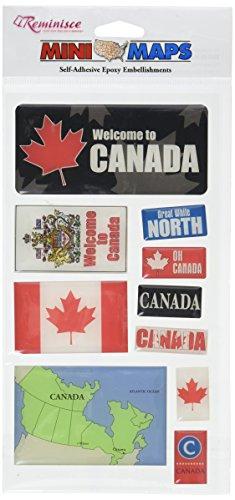 Reminisce Mini Maps Self-Adhesive Epoxy Embellishments 10 Per Package, - Stickers Canada Scrapbook