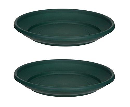 2 x Green Plastic Plant Pot Saucer 32cm Saucer Whitefurze