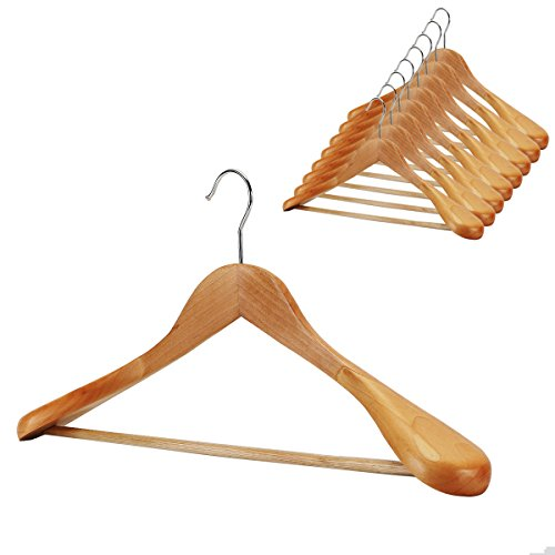 meqution Suit Hanger 8-Pack, Wood Hangers Trouser Hangers Extra Wide Shoulder Wooden Hangers for Heavy Coat, Sweater, Skirt, Suit, Pants, Natural Finish