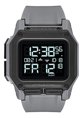 NIXON Regulus A1180 - All Gunmetal - 100m Water Resistant Men's Digital Sport Watch (46mm Watch Face, 29mm-24mm Pu/Rubber/Silicone Band) ()
