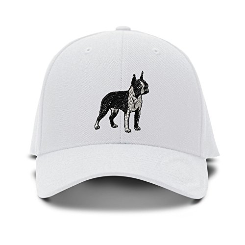 Boston Terrier Dog Embroidery Adjustable Structured Baseball Hat White (Terrier Embroidered Cap)