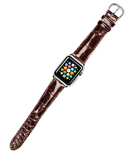 (Debeer Replacement Watch Band - Genuine Alligator - Shiny Finish - Brown - Fits 42mm Apple Watch [Silver Adapters] )