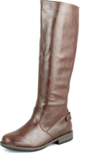 Bamboo Womens Montage-77 Round Toe Equestrian Elastic Back Panel Knee High Riding Boots,Brown Crp,9