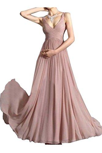 V Partykleid Perlenrosa Traeger Linie Promkleid A Ivydressing Damen Einfach Abendkleid Ausschnitt Festkleid qaBEnCafw7