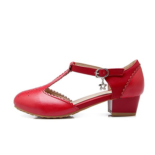 Low Red WeiPoot Shoes Solid Heels Toe Pu Buckle Round Pumps Women's Closed xxwrR