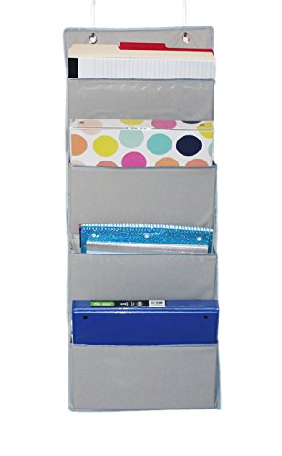 Designer Colored Hanging File Folders (ECOHIP Wall Mount/Over the Door Office Supplies Storage Organizer, 4 Pockets, Letter Size, for Notebooks, Binders, Planners, File Folders, File Organizer, Folder Organizer, Wall Organizer, Grey)