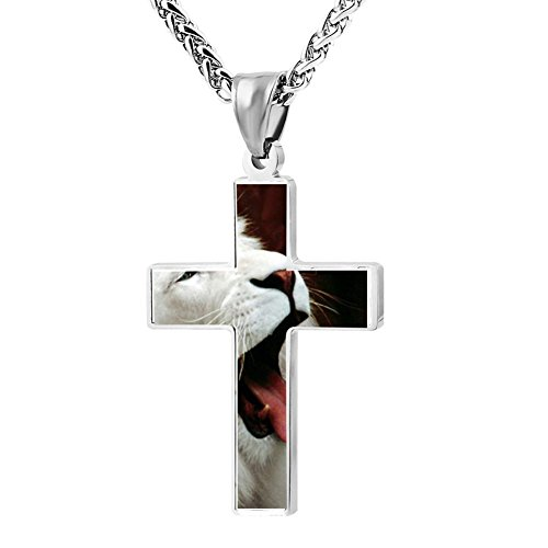 Kenlove87 Patriotic Cross White Lion Religious Lord'S Zinc Jewelry Pendant Necklace - Lion O Costume Make