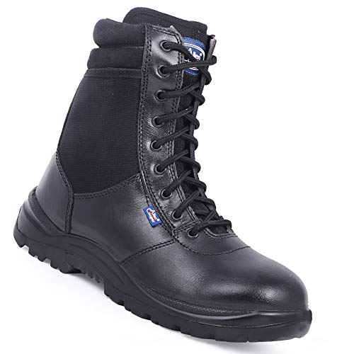 Allen Cooper Zipper Combat Boot AC 1095, Side Zip, 9 Eyelets, Directly Injected PU Sole, ISI Marked for IS:15298 Part-4. Heat Oil Acid Resistant, Anti-Skid Sole, Size 10 UK/INDIA