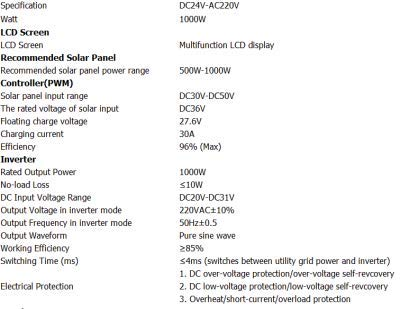 Inversor regulador híbrido GOWE para rejilla sistema de energía solar, 1000 W 24 V onda sinusoidal pura inversor integrado con 30 A controlador PWM: ...