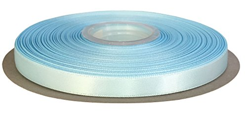DUOQU 3/8 inch Wide Double Face Satin Ribbon 50 Yards Roll Multiple Colors Light Blue