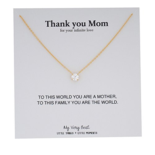 My Very Best Sparkling Round-Cut Cubic Zirconia Mother's Day Gift Necklace (gold plated (Cubic Zirconia Gold Plated Necklace)