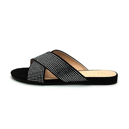 planas cómodas del planas QPYC los Sandalias las de talón romanas con Sandalias Rhinestone zapatos señoras cruzados del black a5qnw5p
