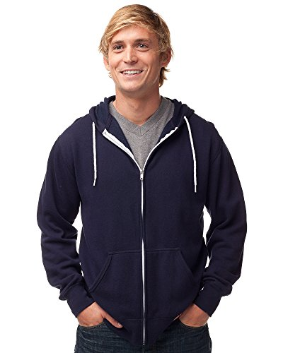 Global Blank Slim Fit Lightweight Zip Up Hoodie for Men and Women L Navy Blue (Blue And White Striped Zip Up Hoodie)