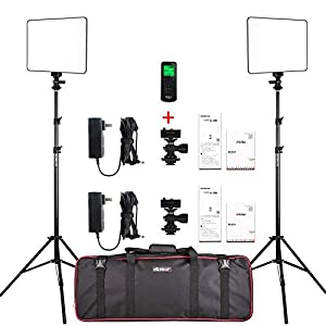 Best Epic Trends 41hSpuGVrtL._SS300_ 2 Packs LED Video Photography Lighting Kit, Panel Studio Lights with Stand, VL-200T Bi-Color Dimmable Photo Lighting for…