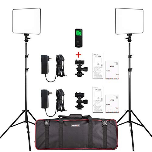 VILTROX 2-Pack VL-200 3300K-5600K CRI95 Super Slim LED Video Light Panel Photography Lighting Kit with Light Stand, Hot Shoe Adapter, Remote Controller, AC Adapter for YouTube Studio Video Shooting ...