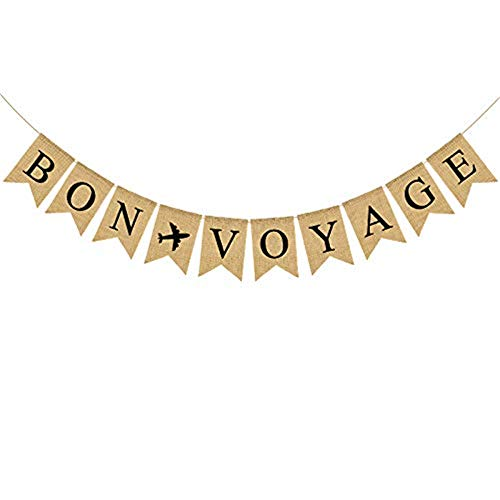 Jute Burlap Bon Voyage Banner with Airplane Retirement, Travel Theme, Cruise Party Decoration ()