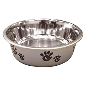 Ethical Pet Barcelona Matte and Stainless Steel Pet Dish, 8-Ounce, Silver 52