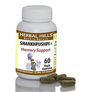 Shankhpushpi Capsules:Indian Ayurvedic Herb, 60 V Caps,240mg each,Brain tonic-Memory enhancer,help for sleep,relief from stress and anxiety,effective for nervous system.