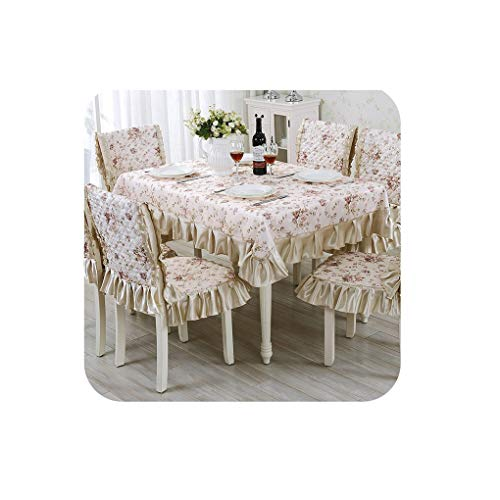 13 Pieces/Set Embroidery Table Cloth Set Vintage Tablecloth for Wedding Hotel Decor Square Table Linen Dining Table Chair Cover,huahai,About 130x180cm