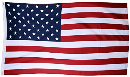 Tenby Living American Flag 3 x 5 ft. Heavyweight 2X Thicker Polyester - UV Protected, Quadruple-Stitched Fly End, Double-Stitched Edges, Brass Grommet (Fly End)