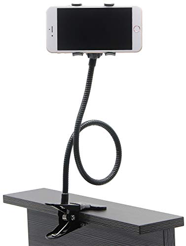 AUXO-FUN Lazy Bracket Bed Phone Holder, Universal Mobile Phone Stand, Bendable Gooseneck Long Arm Clip for Car Desk Kitchen, Fit for All Cell Phones (Black)