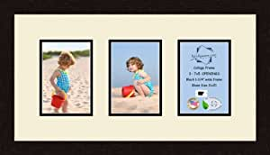Art to Frames Double-Multimat-538-128/89-FRBW26061 Collage Frame Photo Mat Double Mat with 3 - 5x7 Openings and Espresso frame